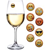 Emoji Wine Charms and Magnetic Glass Drink Markers for Stemless Glasses Set of 8 Fun for a Party or Gift by Simply Charmed