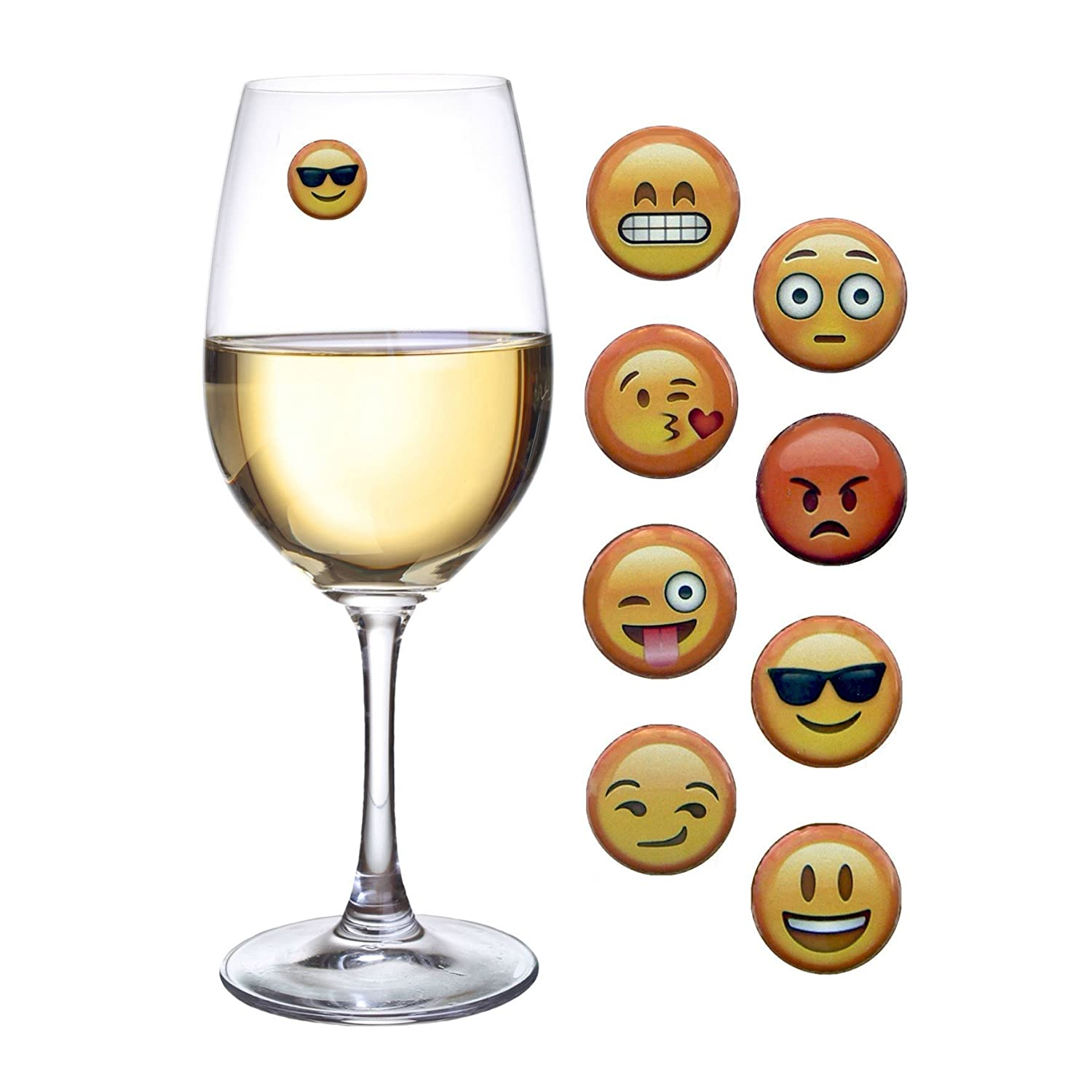 Amazon.com: Emoji Wine Charms and Magnetic Drink Glass Markers Set ...