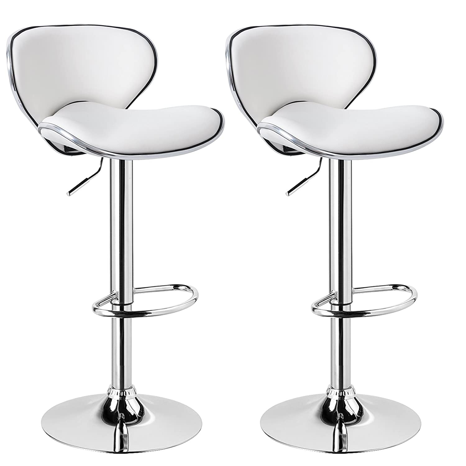 WOLTU Bar Stools Brown Bar Chairs Breakfast Dining Stools for Kitchen Island Counter Bar Stools Set of 2 pcs Faux Leather Exterior//Adjustable Swivel Gas Lift//Chrome Steel Footrest /& Base