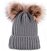 Women Fashion Double Pom Pom Ball Knit Crochet Winter Warm Beanie Cap Ski Beret Hat