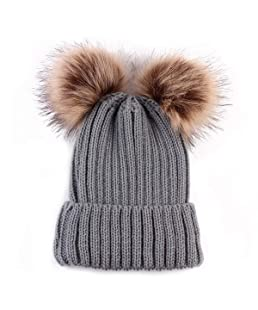 Women Fashion Double Pom Pom Ball Knit Crochet Winter Warm Beanie Cap Ski Beret Hat (Color : Grey, Size : Size)