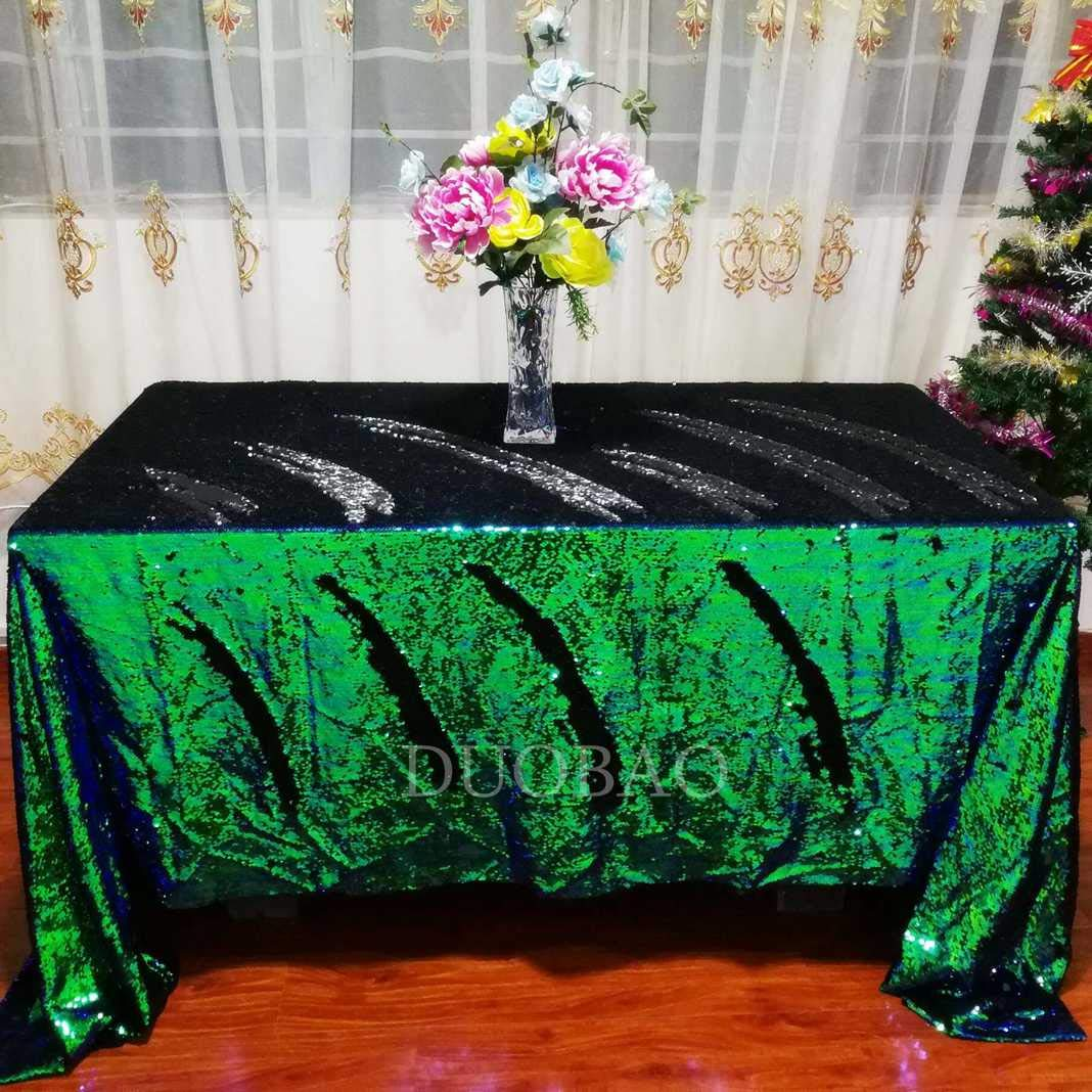 DUOBAO Sequin Tablecloth 60x84-Inch Black Mermaid Sequin Fabric Green to Black Glitter Tablecloth Reversible tablecloths for Rectangle Tables~0516 by DUOBAO (Image #2)