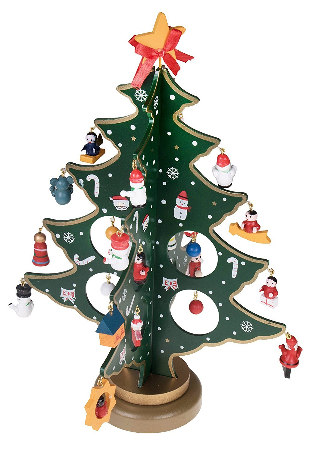 Prudance Wooden Desk Christmas Tree 11.2 Inch Tall With 25 Piece Miniature Decorations Perfect for Office Shop Gifts,Medium