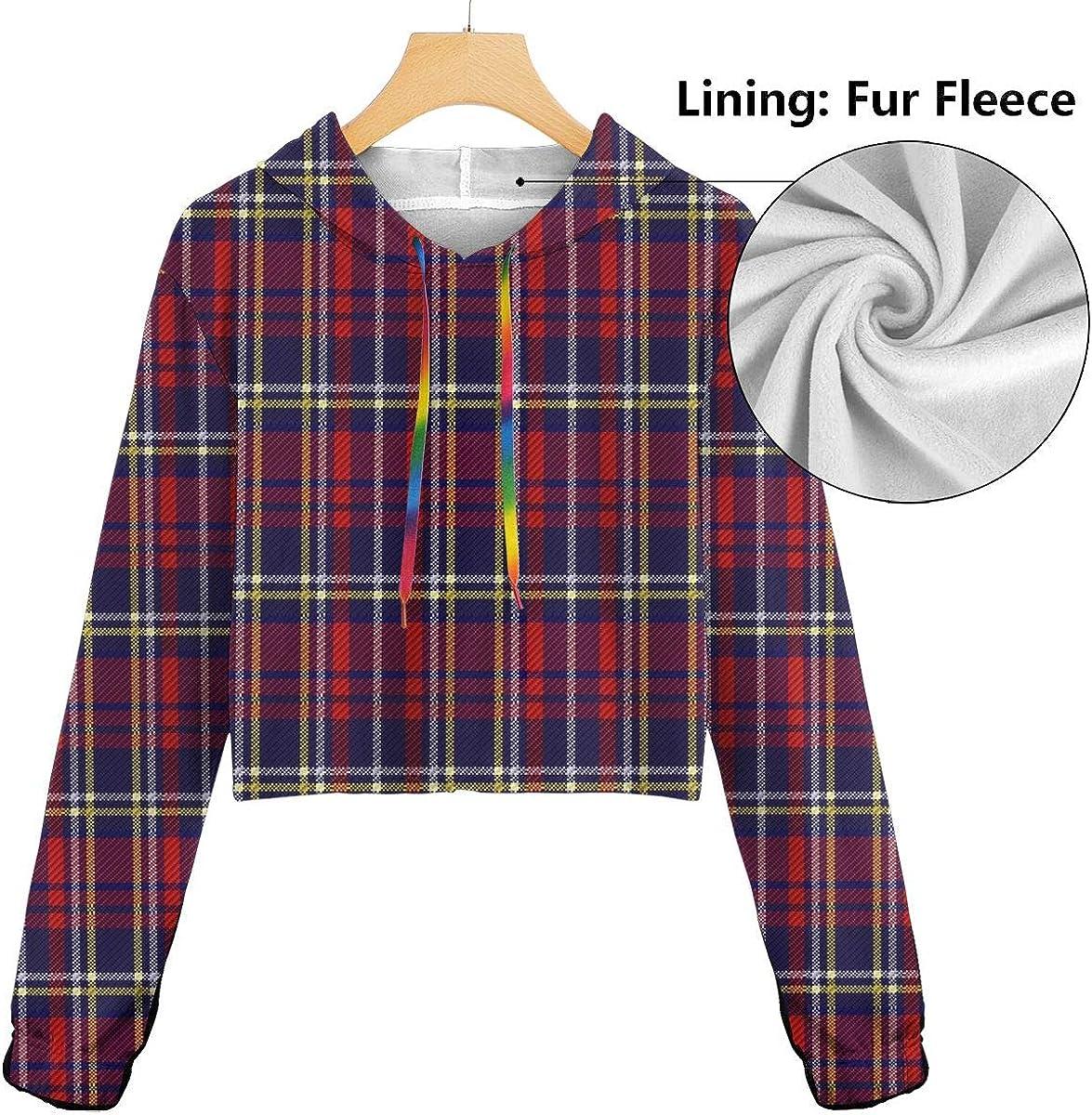 Scots Style Clan Tartan Plaid Purple Women Sweatshirt Casual Hoodie Tshirt T Hoodies Cropped Crop Tops