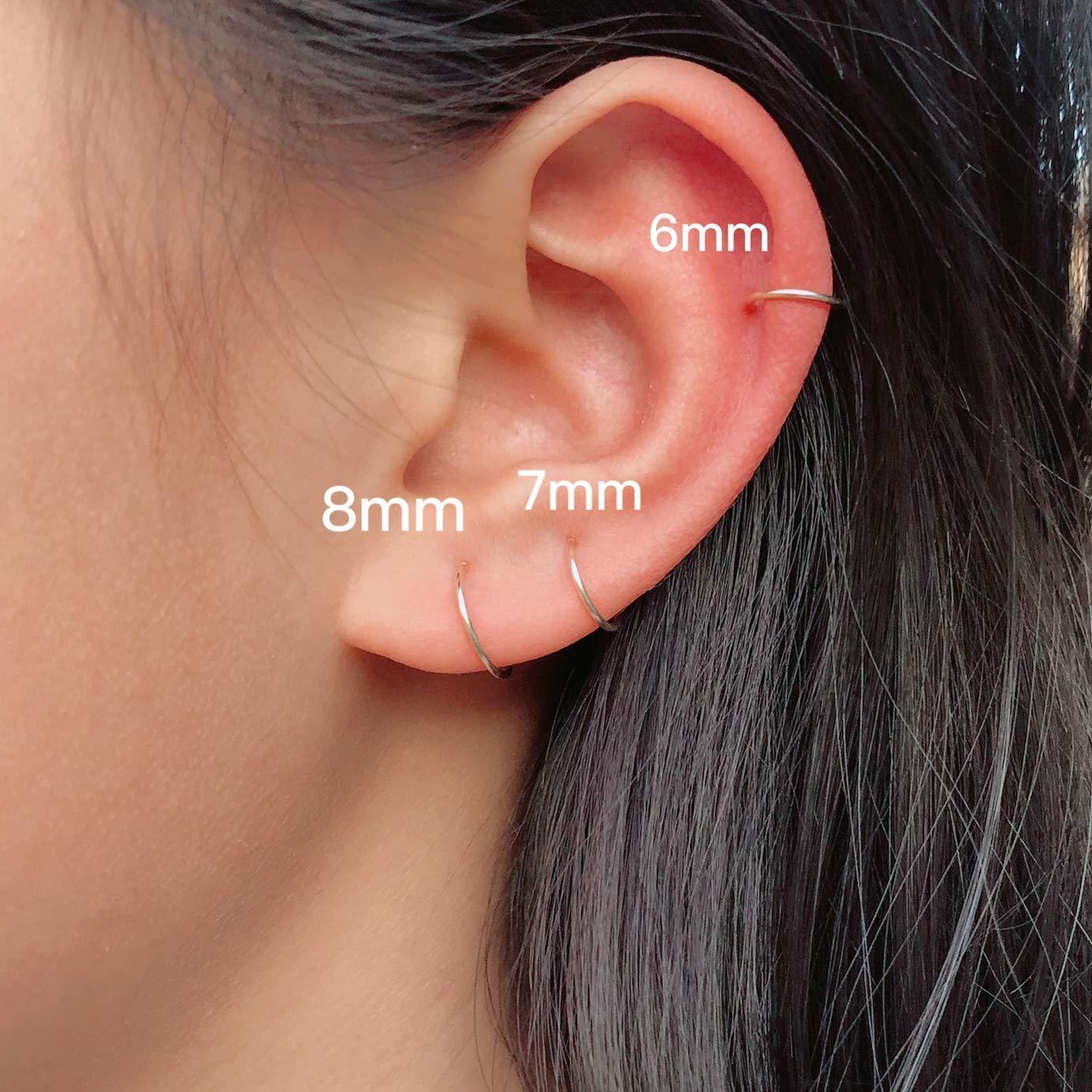 Mini Gold Hoop Earrings Set for Cartilage Piercing,14K Gold Filled Tiny Hoop Earrings 6mm 7mm 8mm