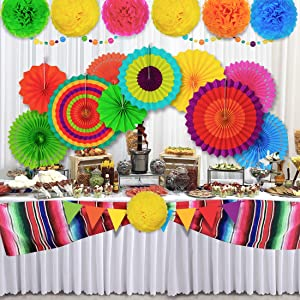 Fiesta Party Decorations Birthday Kit Mexican Decor For Adults Kids Themed Party Supplies Cinco de Mayo Backdrop Paper Fan Pom Poms Serape Table Runner for Bachelorette Baby Shower Bridal Festival
