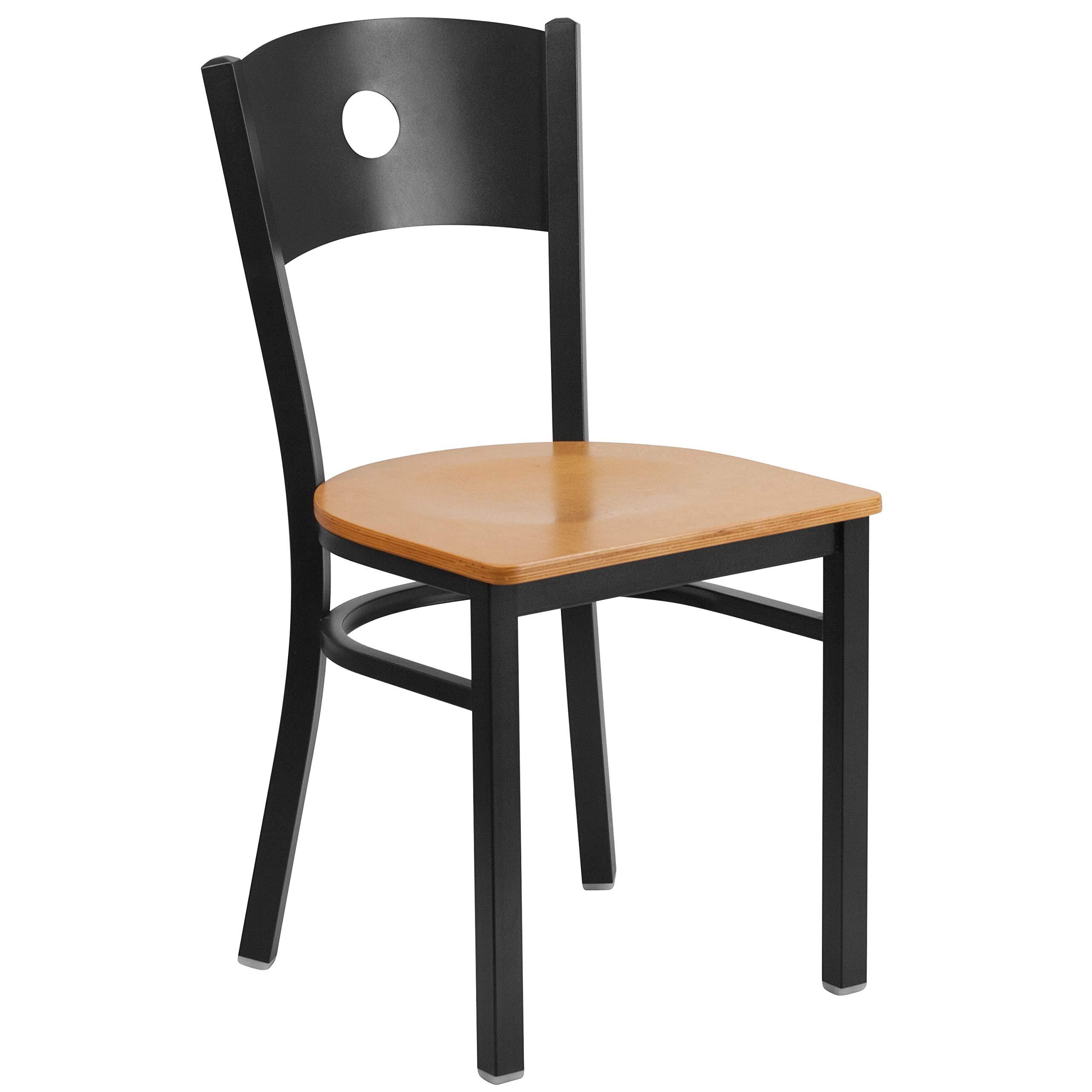 MFO Princeton Collection Black Circle Back Metal Restaurant Chair - Natural Wood Seat
