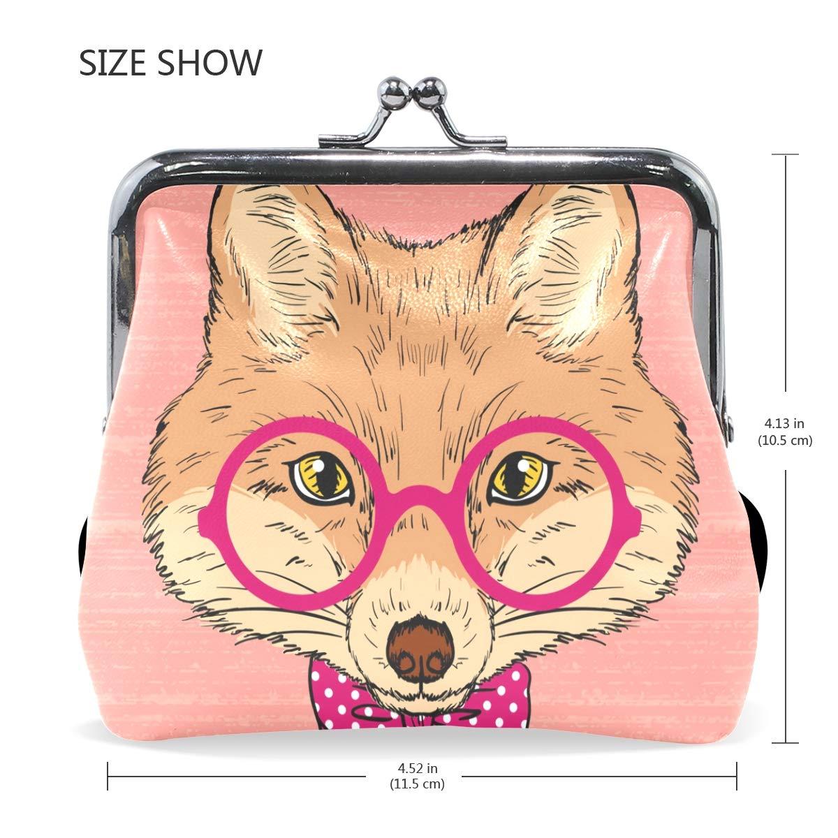 LALATOP Hand Painted Fox Womens Coin Pouch Purse wallet Card Holder Clutch Handbag