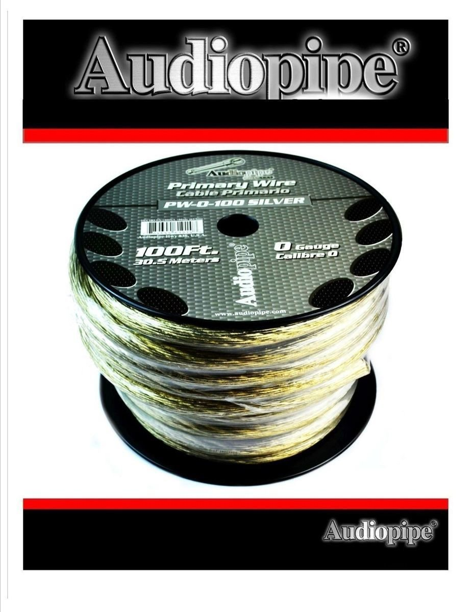 0 GA GAUGE PW-0 SILVER POWER GROUND WIRE CABLE AUDIOPIPE CAR AUDIO AMP 100FT