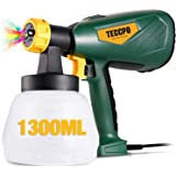 Electric Paint Sprayer 500 Watts Up to 100 DIN-s, TECCPO Spray Gun with 800ml/min HVLP, 1300ml Detachable Container, 3 Copper