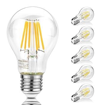 Ascher 5X E27 8W Bombilla Filamento LED, 1000 Lumen, Equivalente 75W, Blanco Cálido 2700K,AC 220-240V: Amazon.es: Iluminación