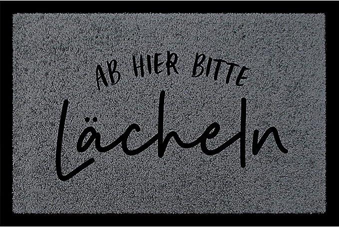 Interluxe SCHMUTZMATTE Fu/ßmatte AB Hier Bitte L/ÄCHELN Fuchsia Fussabtreter Dekomatte mit Spruch Lachen
