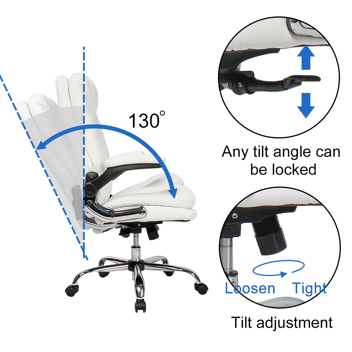 YAMASORO Ergonomic Office Chair with Flip-Up Arms and Comfy Headrest PU Leather High-Back Computer Desk Chair Big and Tall Capacity 330lbs White by YAMASORO (Image #10)