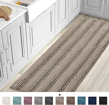 Striped Luxury Chenille Bathroom Rug Mat Runner Oversized 59X20 Inch Extra Soft