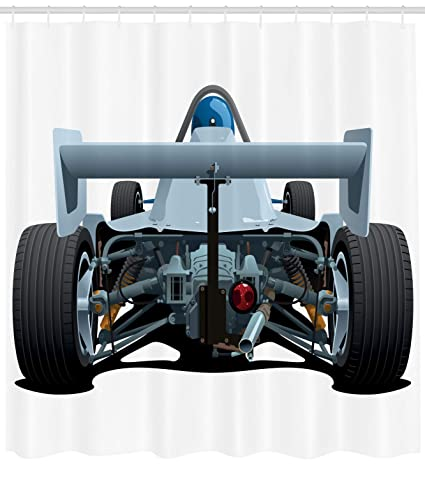 Ambesonne Cars Shower Curtain Back View Of A Formula 1 Race Car Rally Competition Sports