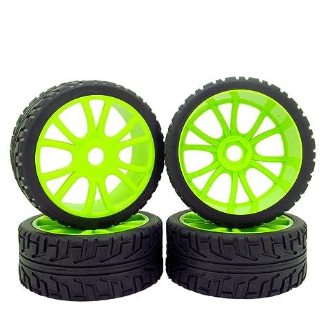 17 mm Doble 6 radios ruedas Llantas Neumáticos de goma verde delantero y trasero para 1