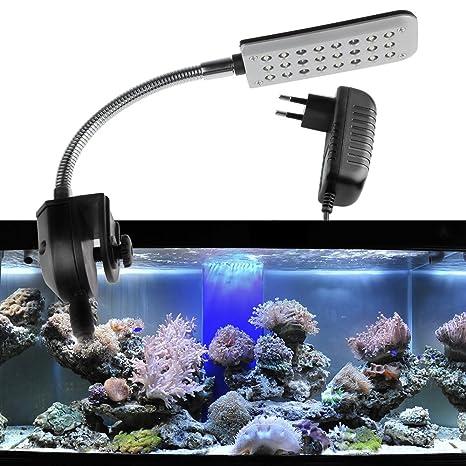 AOZBZ Luz de Acuario LED Clip de Acuario Luz 1.5W 24 Lámpara de Acuario de