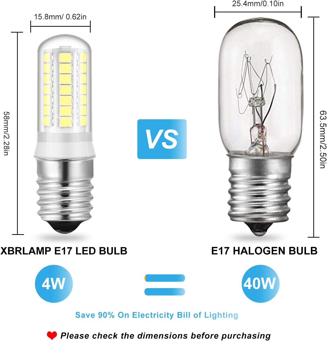 Pack of 2 LED E17 Bulbs 4W Ceramic Body Light 35W 40W Halogen Bulb Equivalent Daylight White 6000K Non-Dimmable AC110-130V for Home Lighting Ceiling Fan Light