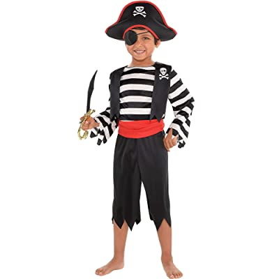 Suit Yourself Rascal Pirate Costume for Toddler Boys, Size 3T to 4T, Includes a Jumpsuit with a Belt and a Pirate Hat: Clothing