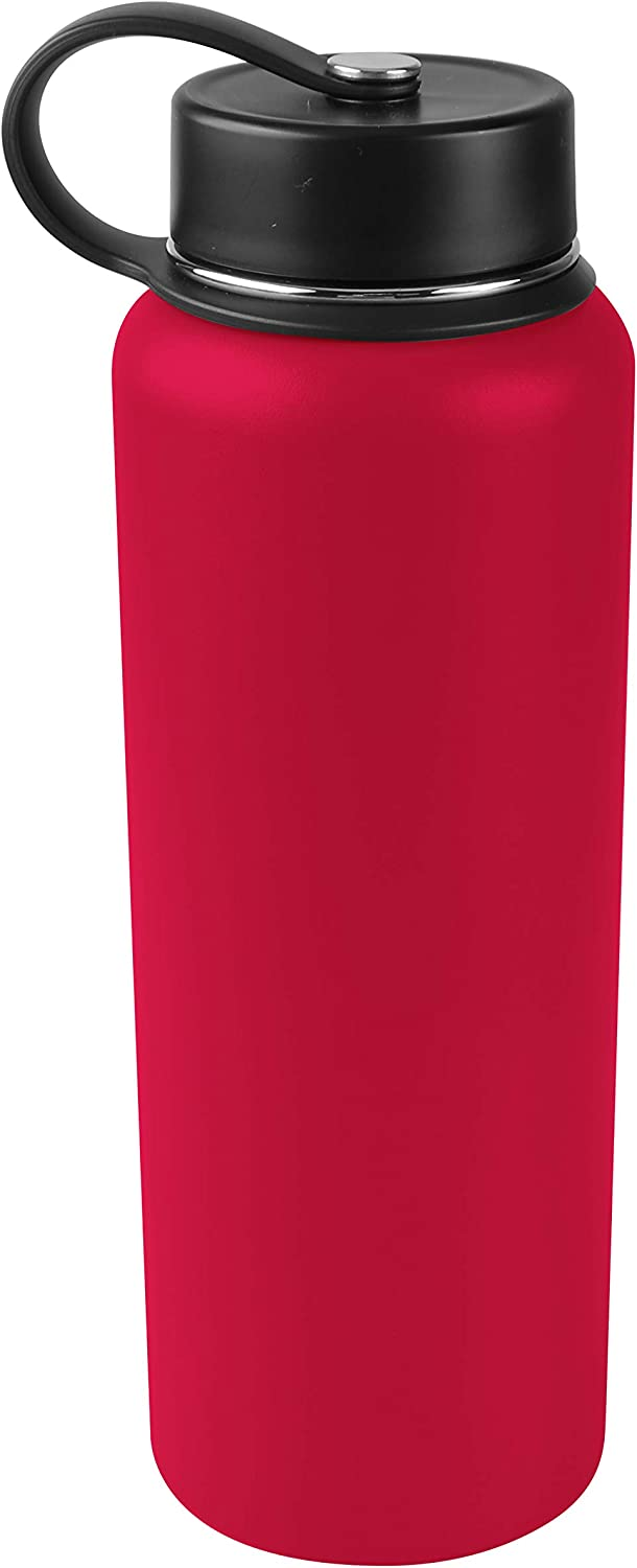Tahoe Trails 40 oz Double Wall Vacuum Insulated Stainless Steel Water Bottle, Red
