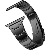 JETech Correa Reemplazable para Apple Watch 44mm y 42mm Series 1 2 3 4, Acero Inoxidable, Negro
