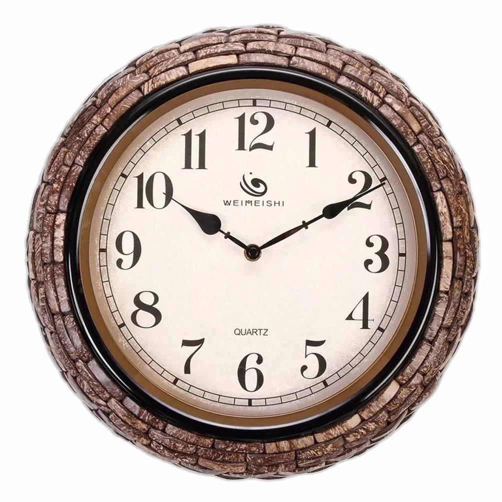 掛け時計 田園風 丸い 壁時計 椰子の殻 おしゃれ 音しない リビング インテリア アンティーク調 独特 SFANY B07CR2BRNV