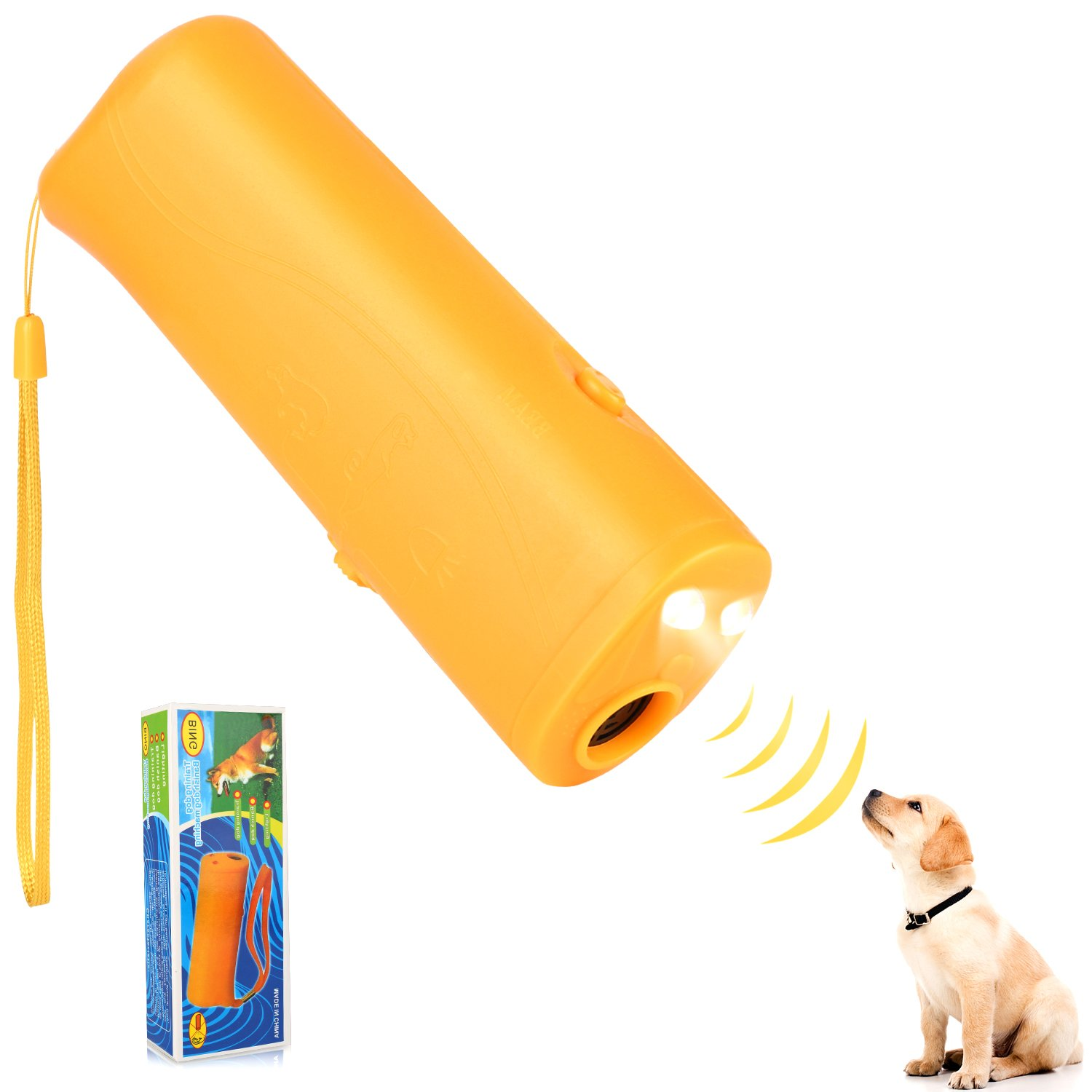 Airsspu Anti Barking Stop Bark Handheld 3 in 1 LED Ultrasonic Dog Repeller and Trainer Device