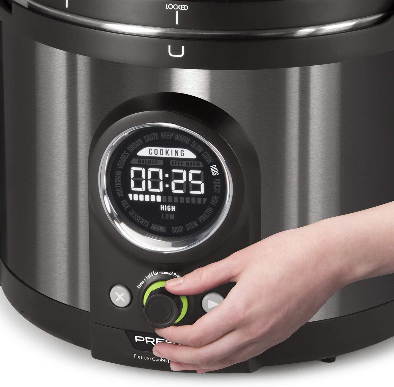 Black Stainless Steel National Presto 02143 Presto Precise 10-Quart Multi-use Programmable Plus Electric Pressure Cooker