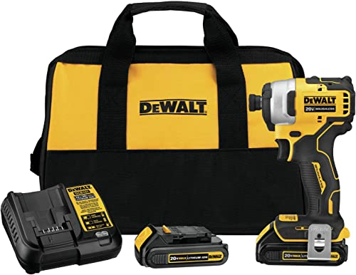 DEWALT DCF809C2 Atomic 20V Max Lithium-Ion Brushless Cordless Compact 1 4 in. Impact Driver Kit W 2 Batteries