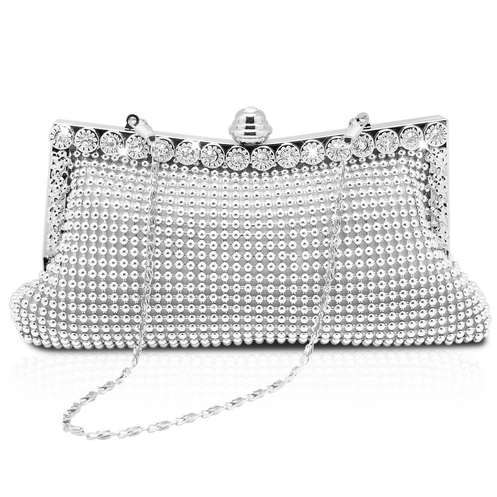 Homgaty Ladies Girls Silver Sparkly Diamante Crystal Satin Clutch Bag  Evening Wedding Handbag Purse Bag  Amazon.co.uk  Luggage b55abdb355a6d