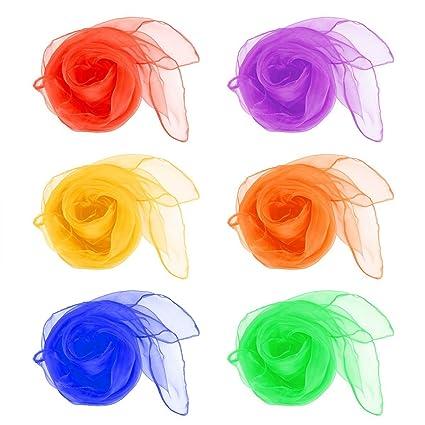 409ae986b Daorier 12× Petit Foulards de danse Multi-Color Foulards Ourlé Jonglage  Foulards Danse Couleur Aléatoire 60×60cm