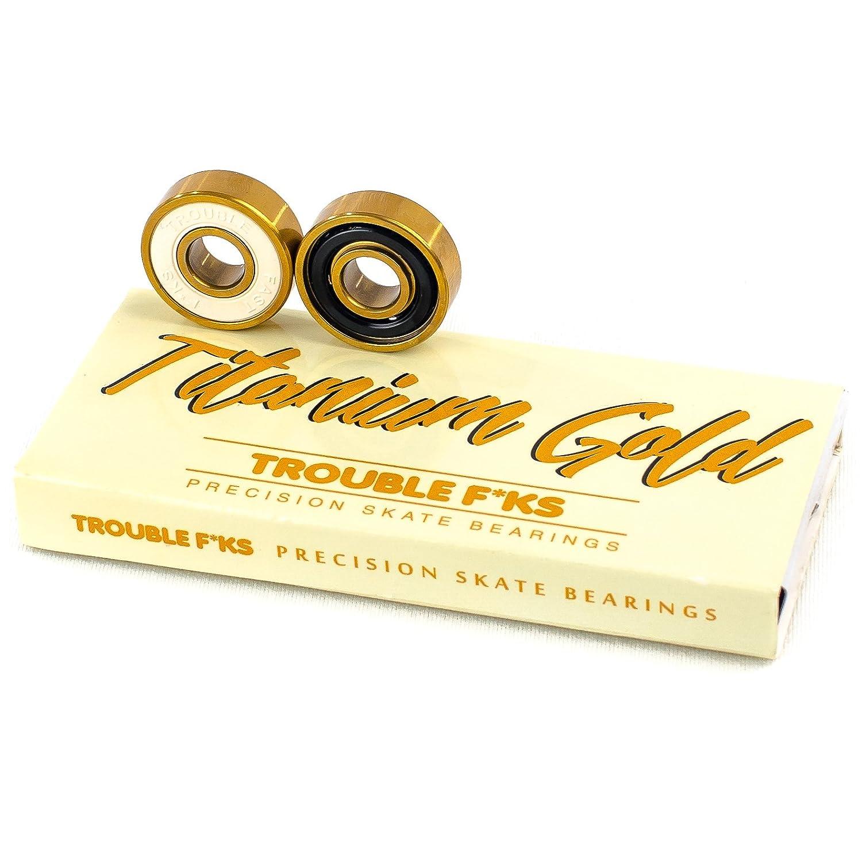 TB3 Trouble Skateboards Trouble Titanium Bearings Skateboard Longboard Skate Bearing Gold Set