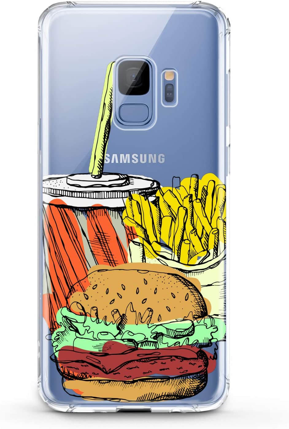 Anreda TPU Case Compatible with Samsung Galaxy J8 J7 Prime J6 Plus J5 J4 Core J2 Cover Flexible Slim fit Pattern Smooth Food Clear Cola Print Gift Burger Tasty Ladies Soft Potatoes Kids Girl Design