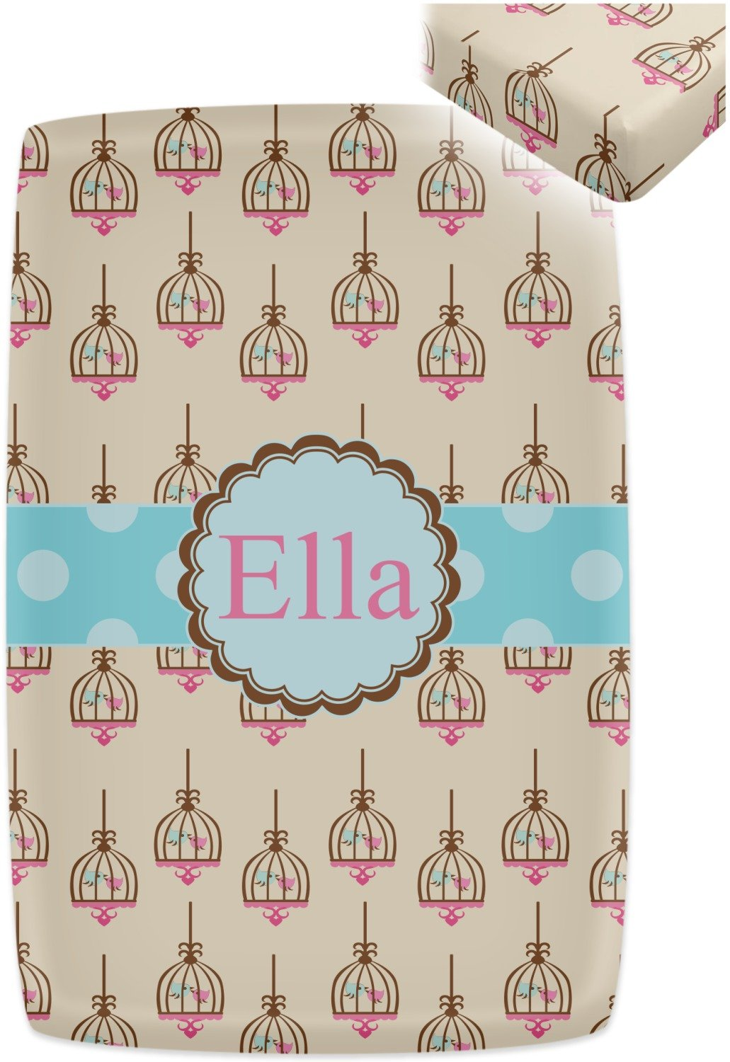 Kissing Birds Crib Fitted Sheet (Personalized) by RNK Shops (Image #2)