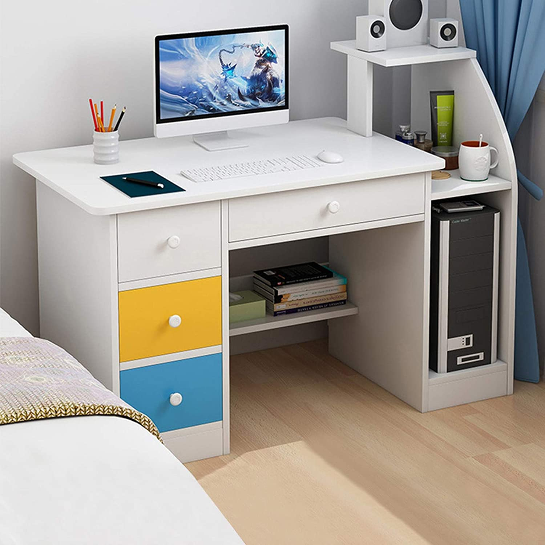 SHUDAGE Computer Desk Home Office Desks with Shelf, Student Study Desktop Desk Laptop Table Modern PC Workstation Dormitory Study Desk with 4 Bottom Storage Shelves and 4 Drawer (White)
