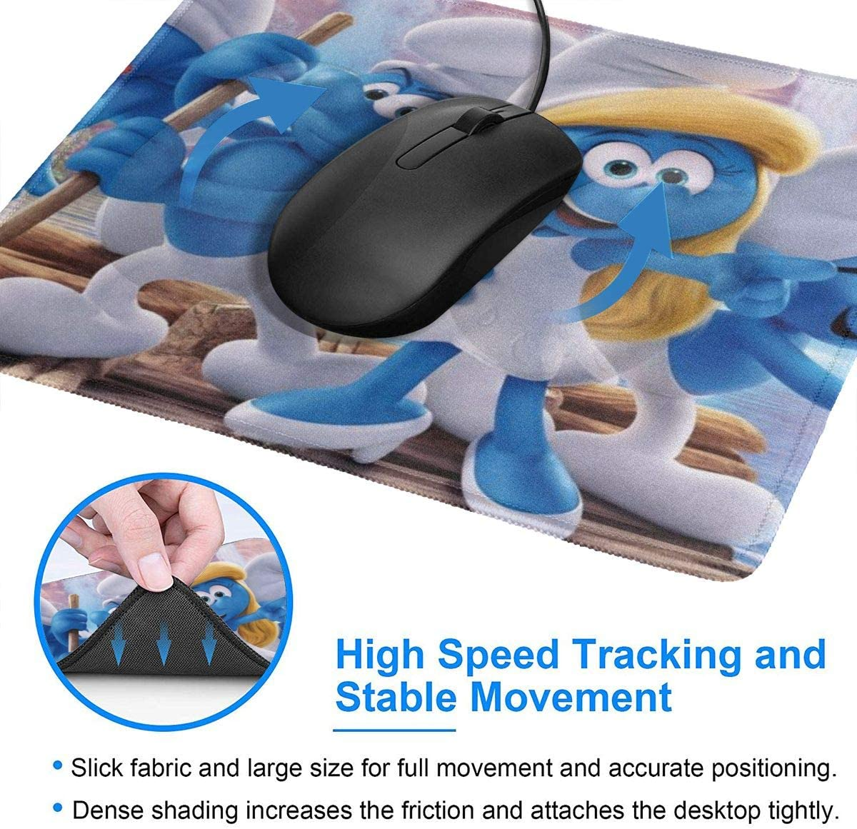 The Smurfs Gaming Mouse Pad with Stitched Edges Computer Mouse Mat Non-Slip Rubber Base for Laptop PC 12 X 10 X 0.12 Inches