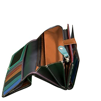 98696bd16f Ladies Luxury Soft Black (Multi Coloured Inside) Real Nappa Leather RFID  Blocking Long Multi