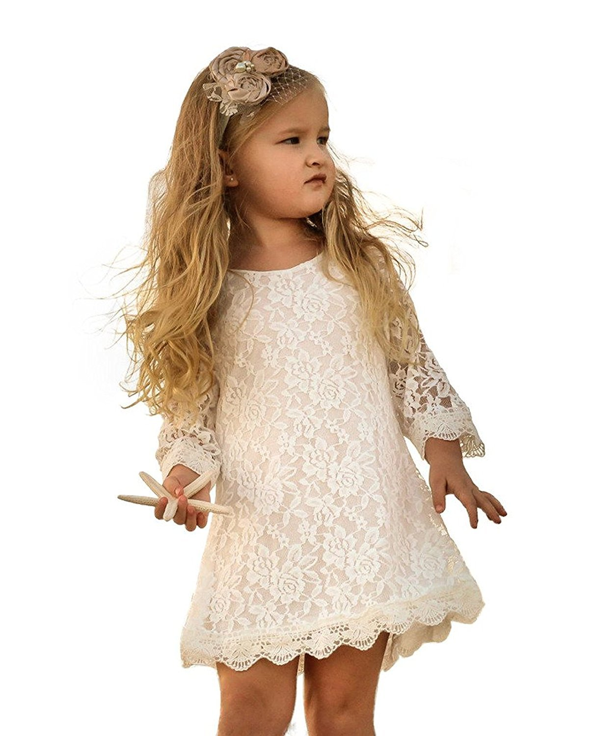 BELS Baby Girls Princess Long Sleeve Flower White Lace Party Wedding Summer Dress (White, 12-18m(80)) by BELS