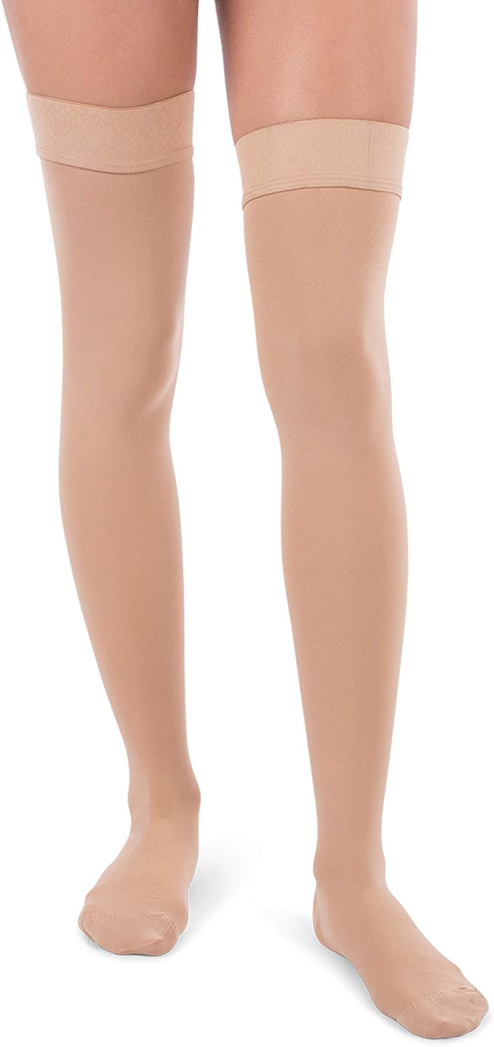 Jomi Compression, Unisex, Thigh High Stockings Collection, 30-40mmHg Surgical Weight Closed Toe 340 (Small, Beige)