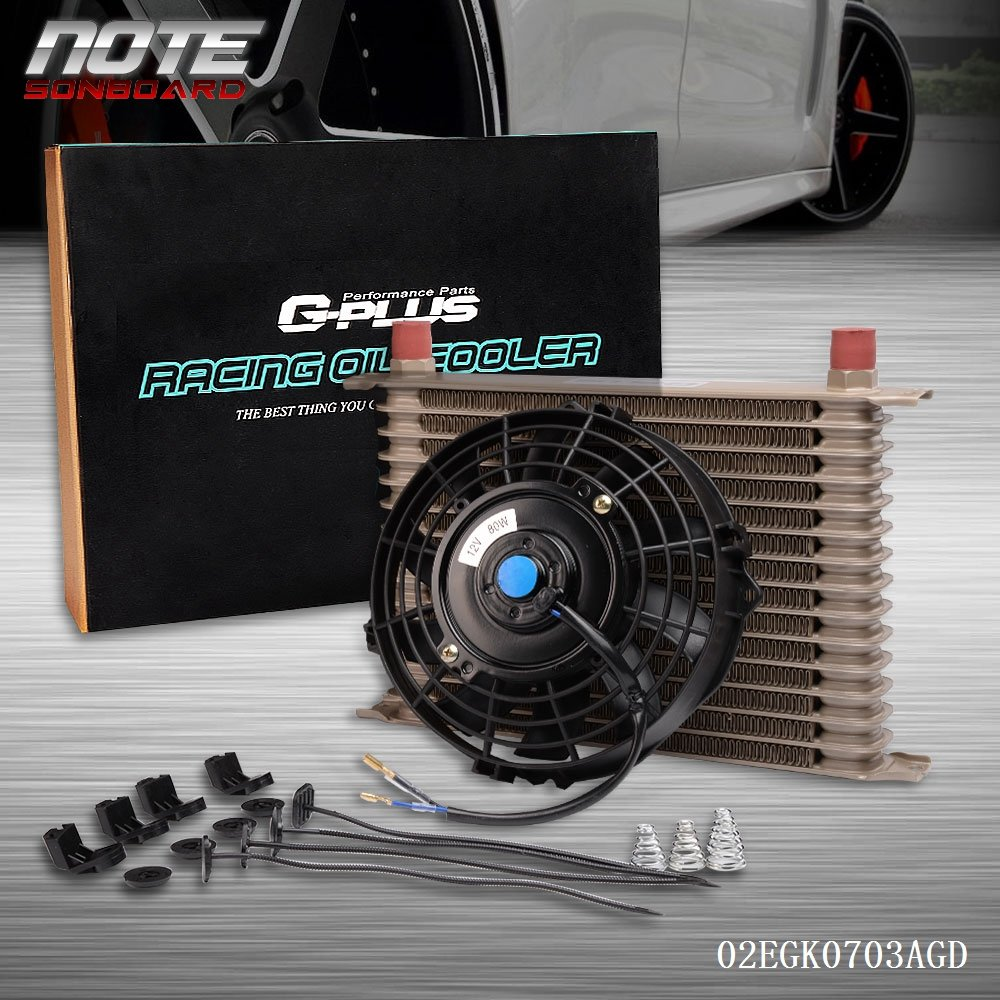 15 Row 10AN Universal Engine Transmission Oil Cooler + 7' Cooling Fan Kit Gold Speedmotor