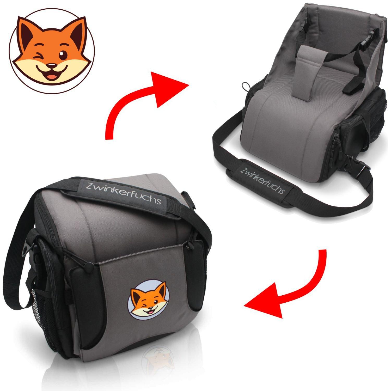 Boostersitz von Zwinkerfuchs® - Sitzerhöhung und Tasche vereint - Verwandeln Sie die Wickeltasche in einen Baby Reisesitz für unterwegs - Der ideale Begleiter wenn kein Hochstuhl zu finden ist 20024