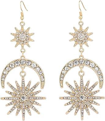 Crystal Rhinestone Moon Star Ear Stud Dangle Drop Earrings Jewelry Gift IT