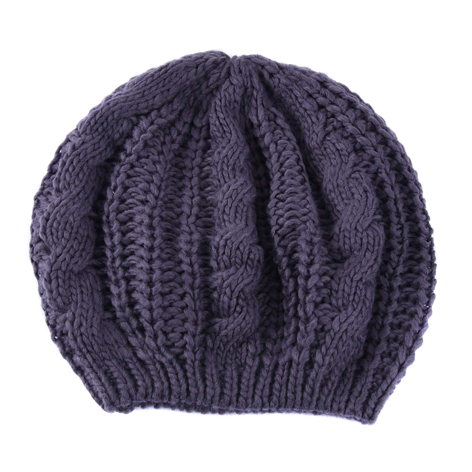 ddd71e82847 Amazon.com  EUBUY Lady Winter Warm Baggy Beret Chunky Knitted Braided  Beanie Hat  Home   Kitchen