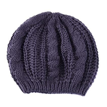 53d0fae642f0d EUBUY Lady Winter Warm Baggy Beret Chunky Knitted Braided Beanie Hat