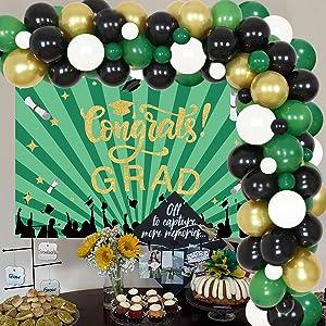 Graduation Decorations 2021 Green - Congrats Grad Backdrop Green Black and Gold Balloon Garland Kit for Congrats Grad Party Decoration Graduation Theme Bachelorette Party Decor