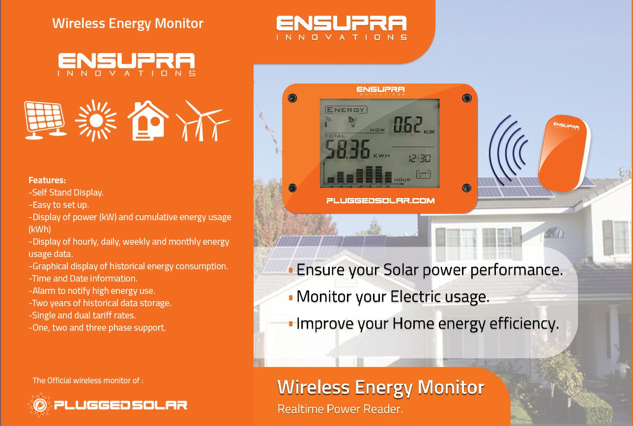 Wireless Solar Power Meter for Solar Power (AC), Monitor Displays Live KW (Kilo-Watts of AC Power Generation), Records the Solar PV Electricity Prodtion in Kwh, Shows Money Savings and Co2 Avoiaded. Used also for Monitoring Electricity Generation from Win by Plugged Solar (Image #4)