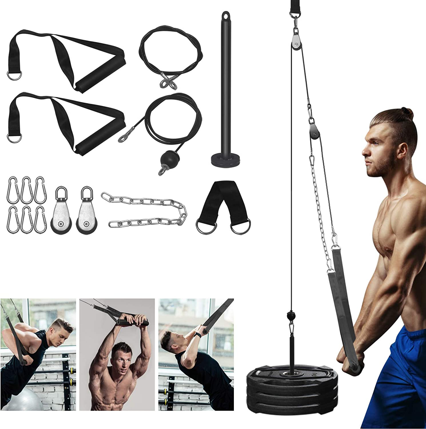 Fitness Gym Triceps Pulley System with Triceps Pull Down Straps and Flying Cable Handles, 110lbs Heavy Duty Wire Rope Included for DIY Home Garage Arm Forearm Wrist Training Biceps Pulldown Attachment