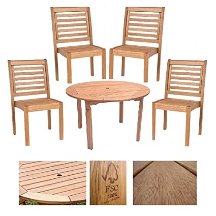 Set of 4 Milano 100% FSC Eucalyptus Wood Stacking Side Chairs With Round  Table, - Amazon.com : Set Of 4 Milano 100% FSC Eucalyptus Wood Stacking Side