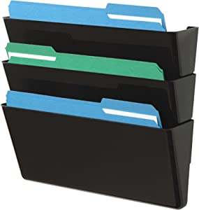 "Deflecto Office DocuPocket 73604, Wall File Organizer, Stackable, Letter Size, Black, Set of 3, 13""W x 7""H x 4""D"