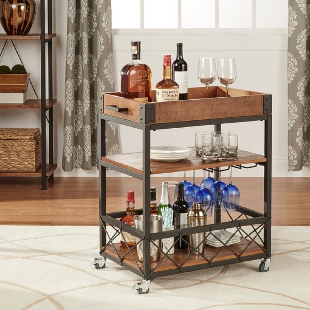 Amazon.com - TRIBECCA HOME Myra Rustic Mobile Kitchen Bar Serving ...
